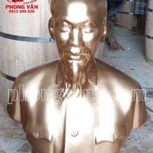 Tượng Bác Hồ Thạch Cao Nhũ Đồng 85cm
