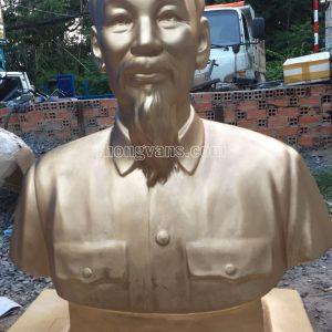 Tượng Bác Hồ Thạch Cao Nhũ Đồng 100cm