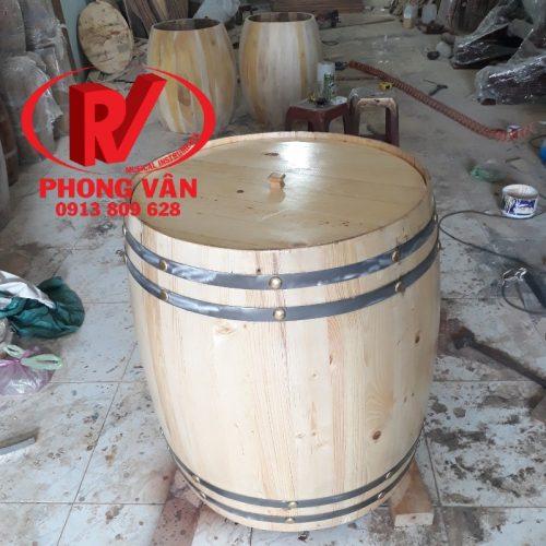 Trống rượu gỗ thông trang trí làm bàn 80 cm
