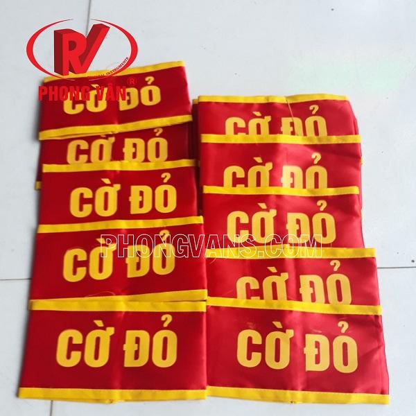 Băng cờ đỏ bóng 2 lớp in chữ
