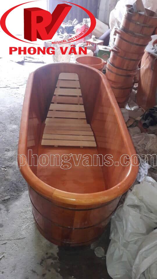 Bồn tắm gỗ pơmu bo viền miệng dài 140cm