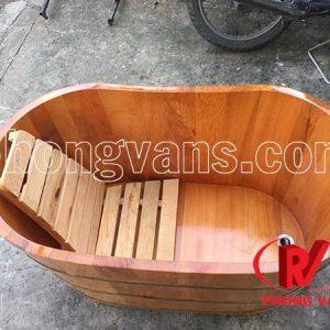 Bồn tắm gỗ pơmu ngâm thảo dược dài 1 mét