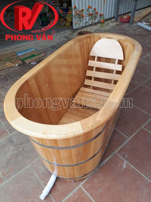 Bồn tắm gỗ sồi oval dài 150cm