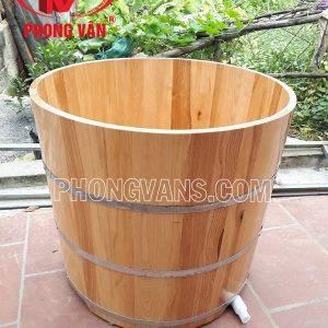 Bồn tắm gỗ sồi tròn đứng