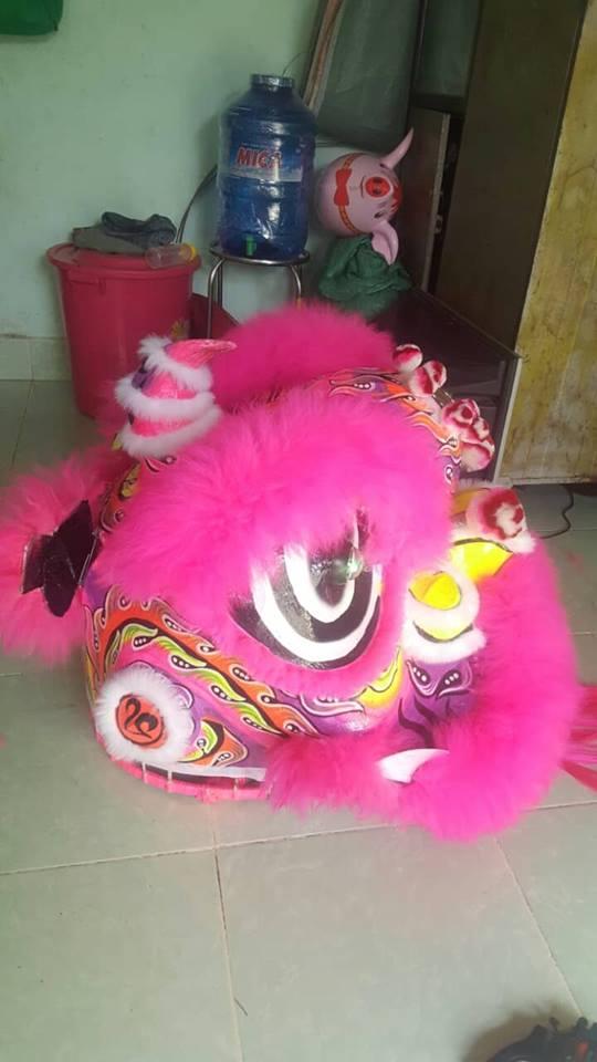 Đầu lân lông cừu màu hồng 1