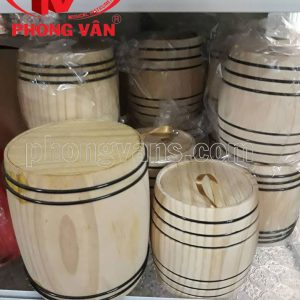 Hộp gỗ thông tròn đựng cà phê trà