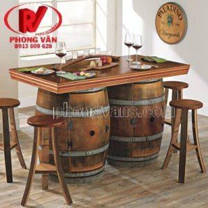 Mẫu bàn ghế gỗ hầm rượu quầy bar