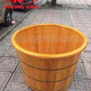 Thùng tắm gỗ pơ mu tròn ngồi 80 cm