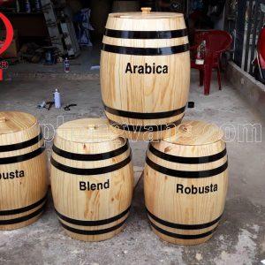Thùng trống gỗ đựng cà phê cao 50 cm