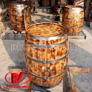 Trống rượu gỗ trang trí cao 8 tấc 80 cm