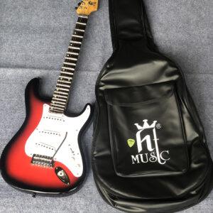 Đàn guitar cổ điện phím lõm màu đỏ viền đen
