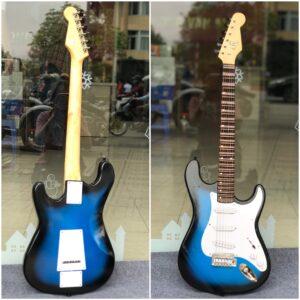 Đàn guitar vọng cổ điện lõm màu xanh viền đen