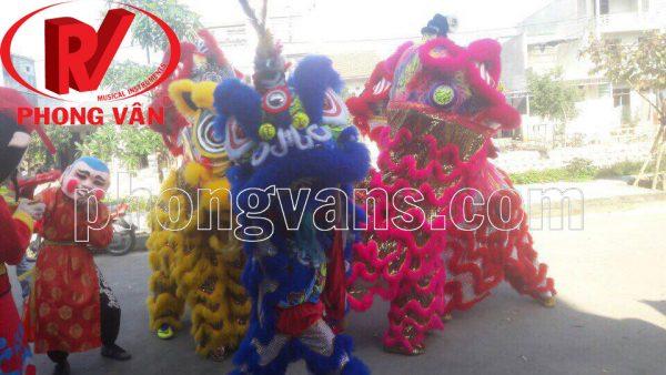 Bộ đầu múa lân vải gấm lông nhân tạo