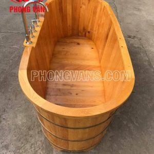 Bồn tắm gỗ pơmu dài 1m7 có sen vòi inax