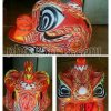 Sườn đầu múa lân dán giấy vẽ màu đỏ