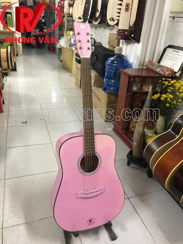 Đàn guitar gỗ ván ép màu hồng