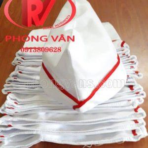 Mũ nón ca lô vải kaki trắng viền đỏ