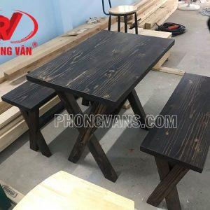 Bộ bàn ghế gỗ thông dài 80cm