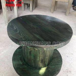 Bàn cafe bằng rulo gỗ màu giả cổ xanh rêu
