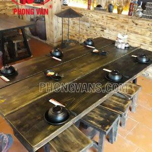 Bàn ghế gỗ thông màu giả cổ cho nhà hàng