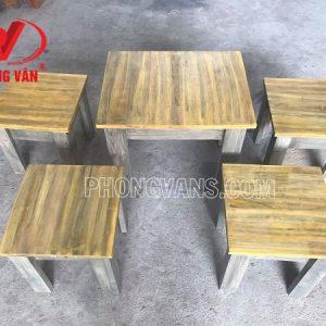Bộ bàn ghế cà phê gỗ thông màu giả cổ