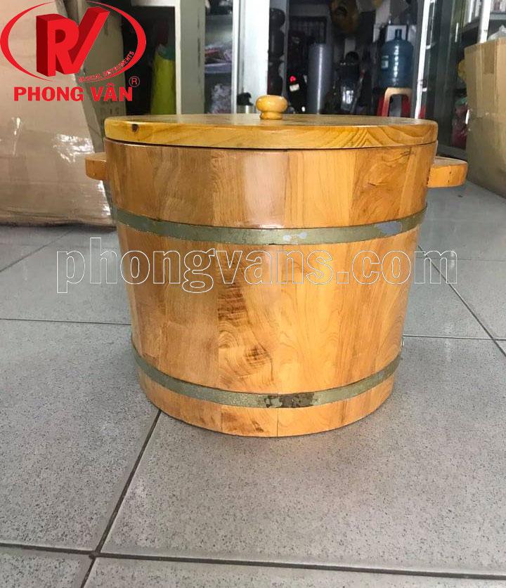 Thùng đựng gạo gỗ pơmu cao 27