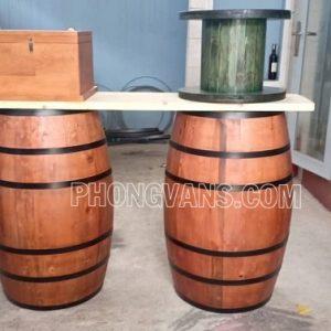 Thùng gỗ thông trang trí cao 90 cm