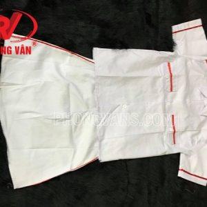 Trang phục nghi thức đội váy nữ vải kaki trắng