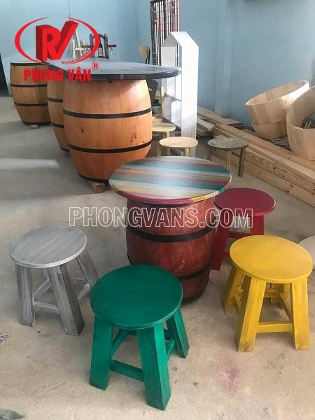 Bàn ghế gỗ quán cafe 5 màu