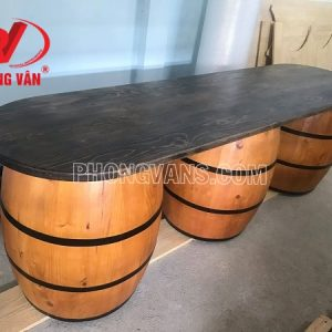Bộ bàn dài 2m6 thùng rượu gỗ thông cao 80cm