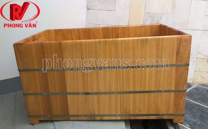 Bồn tắm gỗ pơmu hình chữ nhật