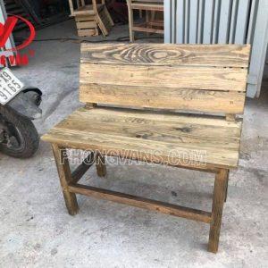 Ghế ngồi cafe tựa lưng dài gỗ thông