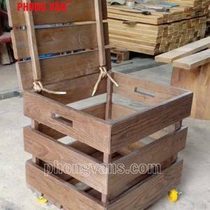 Thùng gỗ thông pallet nắp có bánh xe