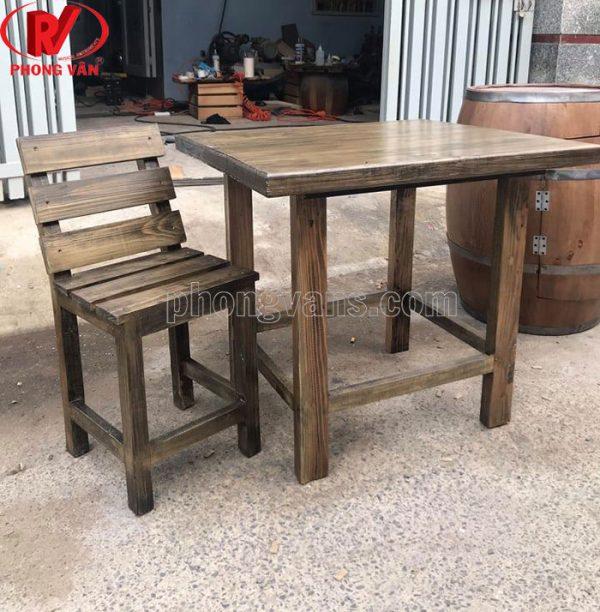 Bộ bàn ghế gỗ thông pallet văn phòng