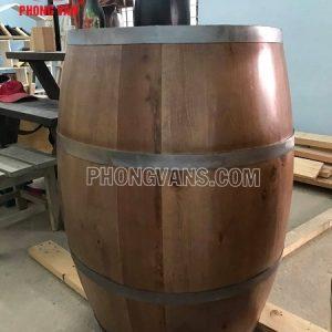 Trống rượu gỗ trang trí hầm rượu giả cổ
