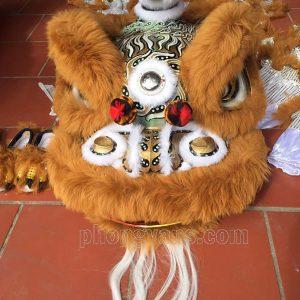 Bộ đầu múa lân lông cừu màu xám nâu