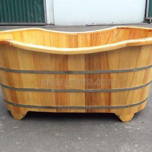 Bồn tắm gỗ nằm pơmu oval 1m35