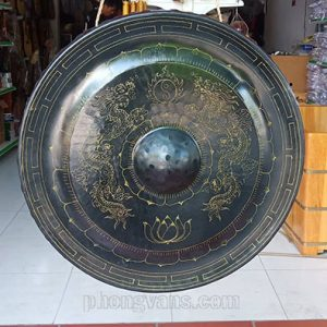 Cồng chiêng đồng 50 cm trạm rồng chầu màu đen
