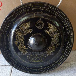 Cồng chiêng đồng đen trạm rồng 25 cm