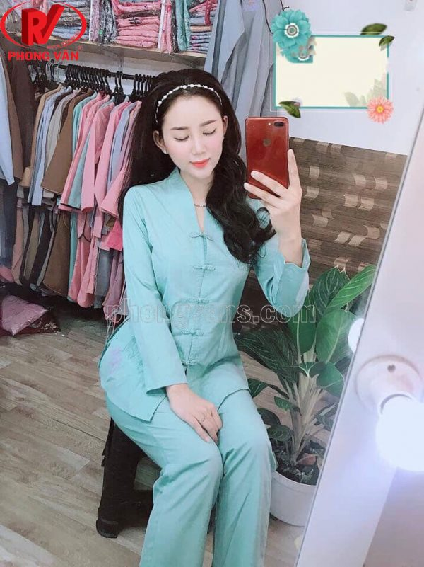 Quần áo đi chùa mẫu sen tàu màu xanh ngọc