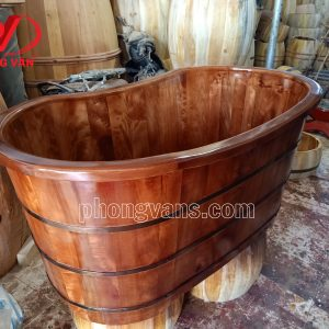 Bồn tắm gỗ pơmu oval màu giả cổ