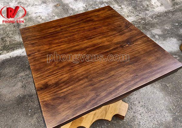 Mặt bàn gỗ thông vuông 60cm màu giả cổ