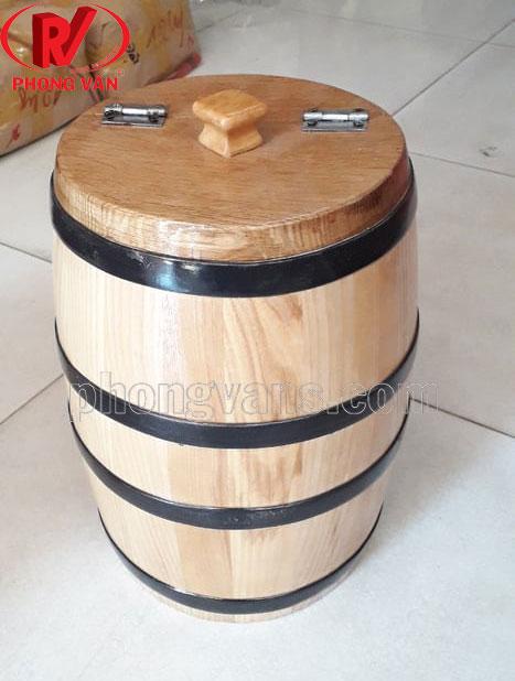 Thùng gỗ sồi đựng gạo 7kg