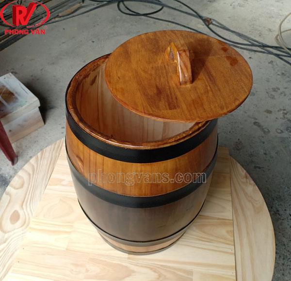 Thùng gạo gỗ thông cao 55