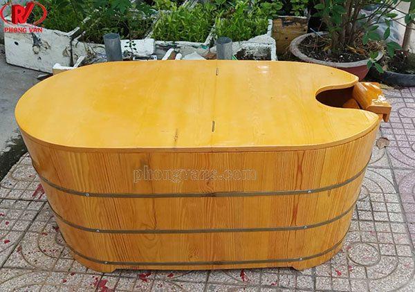 Thùng tắm xông hơi gỗ thông có nắp đậy