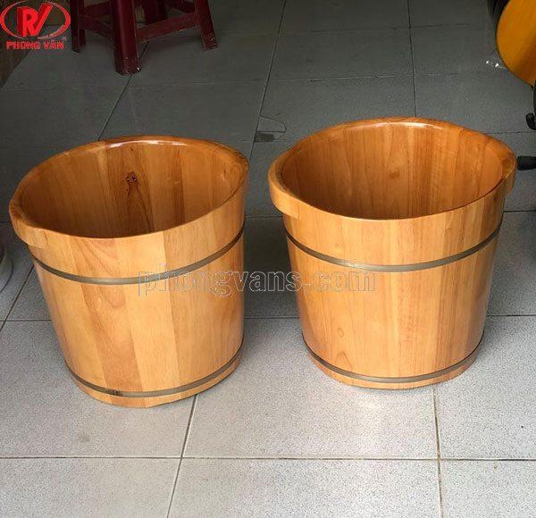 Thùng thau ngâm chân gỗ sồi cao 35cm