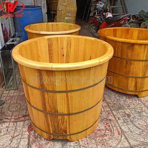 Bồn gỗ thông tròn bo viền