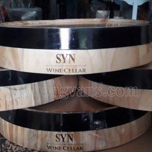 Mặt thùng trống gỗ trang trí khắc chữ laser