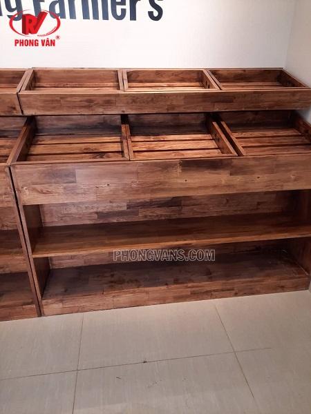 Kệ trưng bày trái cây bằng gỗ