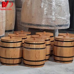 Thùng gỗ đựng gạo cao